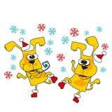 Kühle gelber Hundemaskottchenkarikatur Stockfotografie