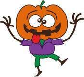 Kühle Halloween-Vogelscheuche, die lustige Gesichter macht Stockfotos