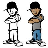 Kühle junge männliche Zeichentrickfilm-Figur-Vektorillustration lizenzfreies stockbild