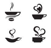 Kühle Kaffee-Thema-Illustration mit zwei Schalen und Kaffeebohnen Stockbild