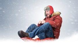 Kühle Mannfliege auf einem Schlitten im Schnee, Konzeptwinterfahren Stockfotos
