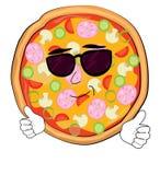 Kühle Pizzakarikatur Lizenzfreie Stockbilder