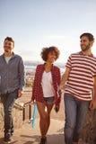 Kühle scherzende drei und lachende Freunde lizenzfreie stockbilder