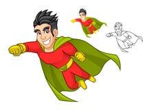 Kühle Superheld-Zeichentrickfilm-Figur mit Kap und Fliegen-Haltung Lizenzfreies Stockfoto