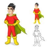 Kühle Superheld-Zeichentrickfilm-Figur mit Kap und Stellungs-Haltung Stockfotografie