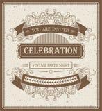 Kühle Vektorweinlese-Einladungsschablone für Text Lizenzfreie Stockfotos
