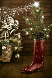 Kühle Weihnachtsbaum-Grußkarte Stockfoto