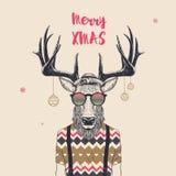 Kühle Weihnachtsrotwild stock abbildung