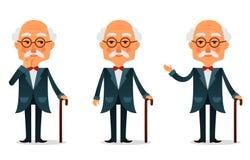 Kühler älterer Mann mit Spazierstock Lizenzfreie Stockfotografie