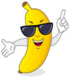 Kühler Bananen-Charakter mit Sonnenbrille Stockfotografie