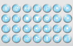 Kühler blauer Knopf der Musik 3d glatt Stockbild