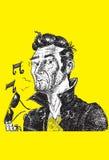 Kühler Geck in der Lederjacke und in der rockabilly Pompadourfrisur lizenzfreies stockbild