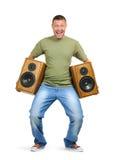 Kühler Geck mit zwei Lautsprechern auf Weiß Stockbild