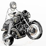 Kühler Junge, der sein Caférennläuferkohlenstoff-Fasermotorrad reitet Stockfotos