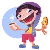 Kühler Junge in einem Hoodie mit Kaffee-und Schokoladen-Plätzchen stock abbildung