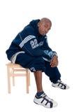 Kühler junger Hip-hopmann auf weißem Hintergrund Stockfoto