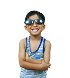 Kühler junger Junge mit Farbtönen Stockfotos