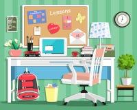 Kühler moderner Jugendlichraum mit Arbeitsplatz: Tabelle, Stuhl, Brett, Lampe, Schultasche, Laptop, Briefpapier und Bücher Flache Stockfotos