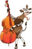 Kühler Okapi, der Kontrabass spielt Stockbild