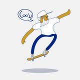 Kühler Vektorhippie-Schlittschuhläufer mit Bart und Sonnenbrille, die einen Trick auf Skateboard tut Stockbilder