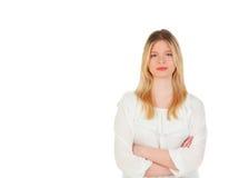 Kühles blondes Mädchendenken Stockfotografie