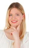 Kühles blondes Mädchendenken Lizenzfreie Stockfotos