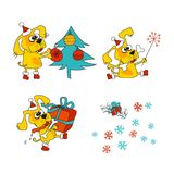 Kühles gelber Hundemaskottchen Karikatursatz vektor abbildung