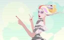 Kühles Modemädchen des abstrakten Aquarellporträts in der Sonnenbrille Lizenzfreie Stockfotografie