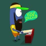 Kühles Monster verkauft Pizza in einer Pizzeria Lizenzfreie Stockfotografie