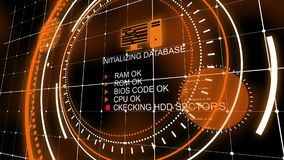 Kühles orange Head-up-display mit Datenbank vektor abbildung