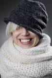 Kühles stilvolles Winterfrauenporträt Lizenzfreies Stockfoto