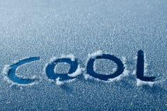 Kühles Wort im Auto Frost Stockbild