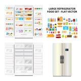 Kühlschrank-und Lebensmittel-Satz Lizenzfreie Stockfotografie