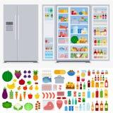 Kühlschrank voll von verschiedenen Produkten Lizenzfreies Stockbild