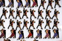 Kühlschrankmagneten mit dem Bild von Tangotänzern Stockbild