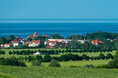 View from Bastorf to the town Kühlungsborn and the baltic sea royalty free stock photo