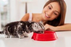 Kümmern des guten um ihrem Haustier Stockfotos