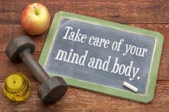 Kümmern Sie sich um Ihrem Verstand und Körper Stockbild
