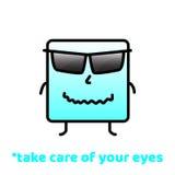 Kümmern Sie sich um Ihren Augen Vergessen Sie nicht zu lächeln Positives Motivations-Vektor-Design Stockbild
