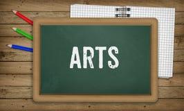Künste auf Tafel, Bildungsschulkonzept vektor abbildung
