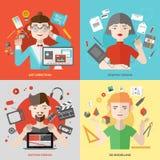 Künste und flache Illustrationen der Designbesetzungen Stockfotos