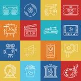 Künste und Unterhaltung lineart minimales Vektor iconset auf karierter Mehrfarbenbeschaffenheit stock abbildung