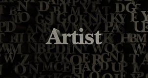 Künstler - 3D übertrug metallische gesetzte Schlagzeilenillustration stock abbildung