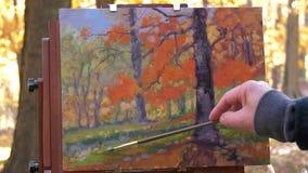 Künstler, der draußen mit Ölgemälden malt stock footage