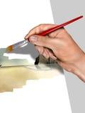 Künstler, der eine Abbildung malt Lizenzfreie Stockfotos