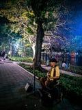 Künstler in der Straße singend, einer der Jobs in Vietnam lizenzfreie stockfotografie