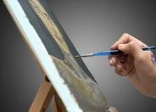 Künstler Malt Bild Auf Segeltuch Stockfoto Bild Von Glücklich