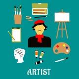 Künstler oder Handwerker mit Kunstikonen lizenzfreie abbildung