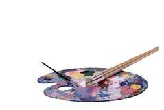Künstler-Palette und Pinsel Lizenzfreies Stockfoto