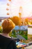 Künstler schmerzt Sommerpark Stockbild